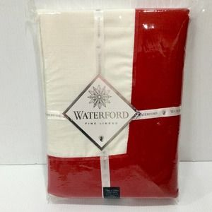 """WATERFORD Tablecloth 70""""x126"""" Clarissa White Red"""